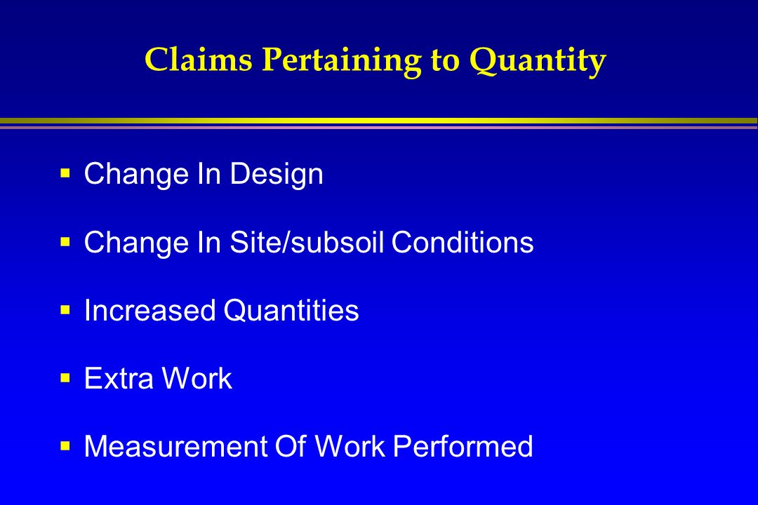 Claims Pertaining to Quantity