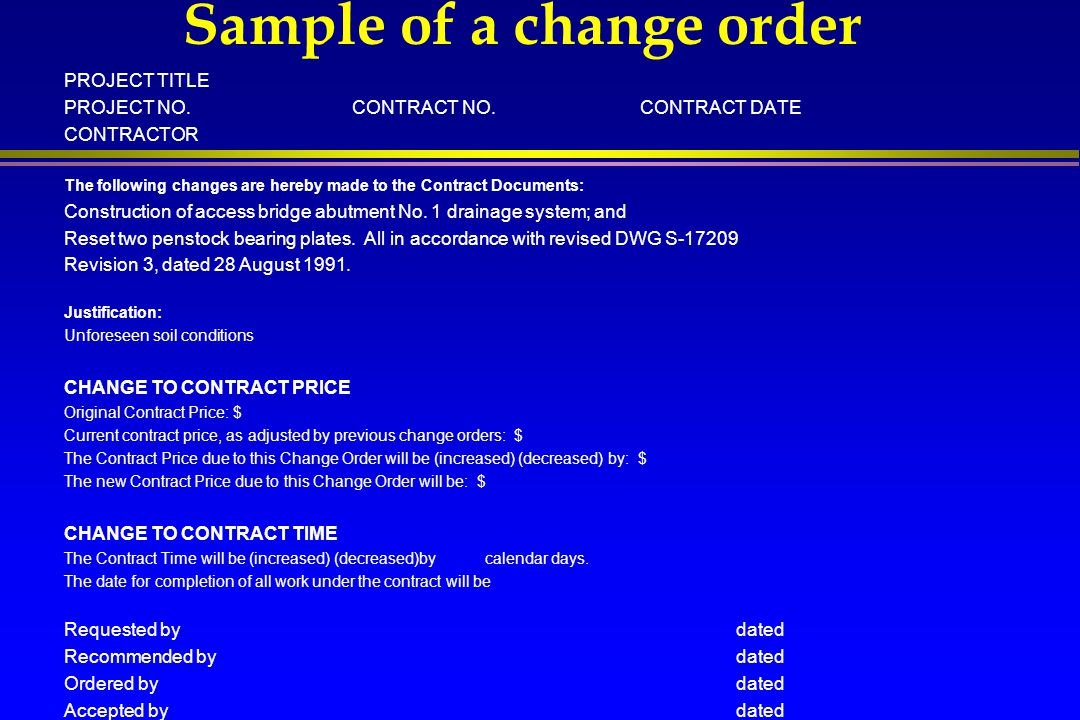 Sample of a change order