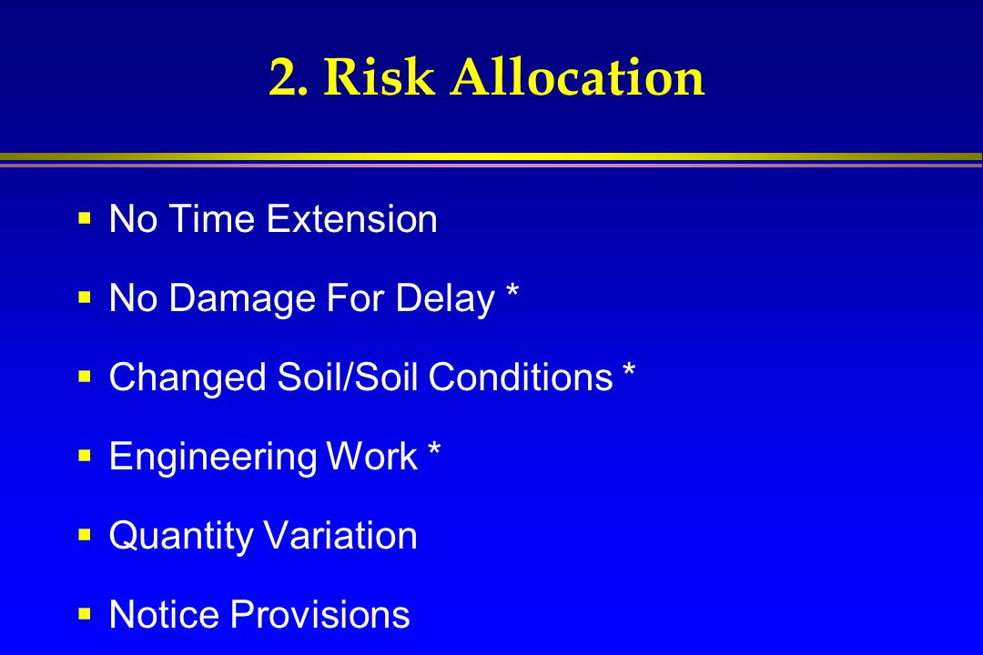 2. Risk Allocation No Time Extension No Damage For Delay *