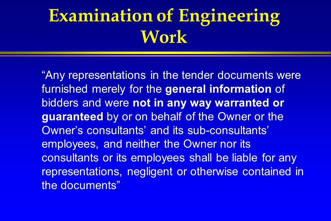 Examination of Engineering Work