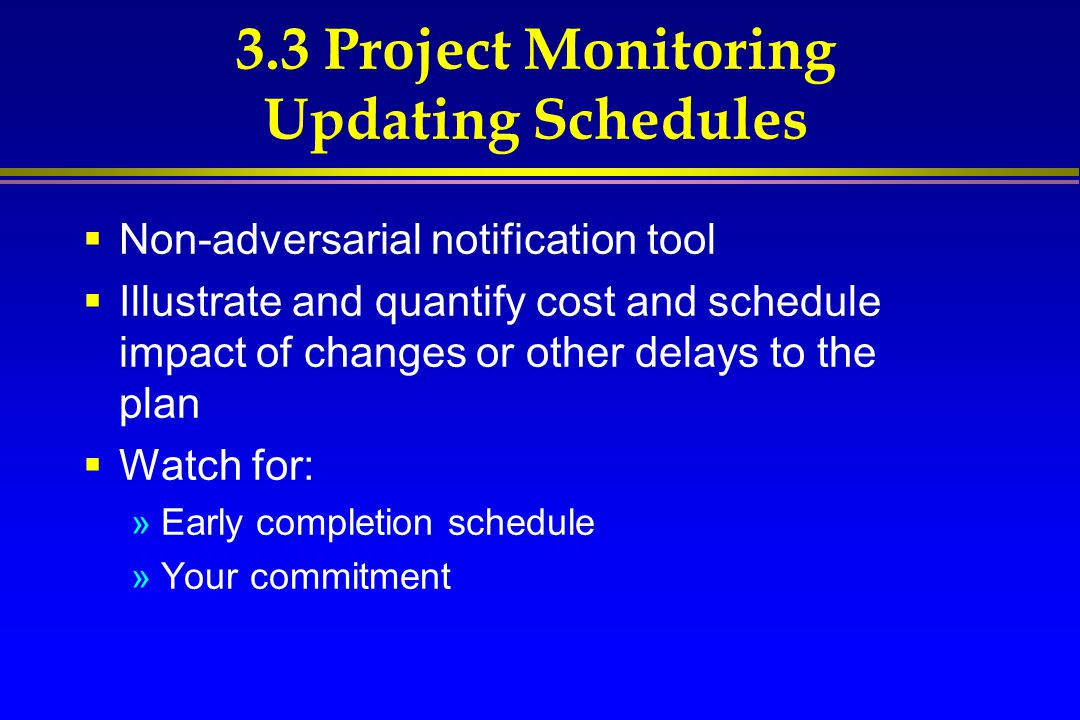 3.3 Project Monitoring Updating Schedules