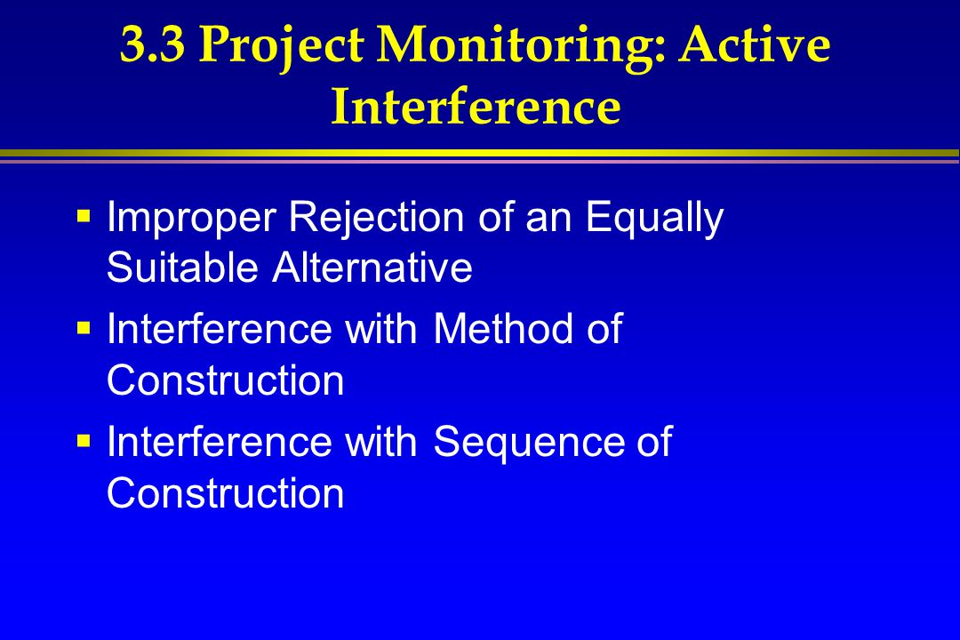3.3 Project Monitoring: Active Interference