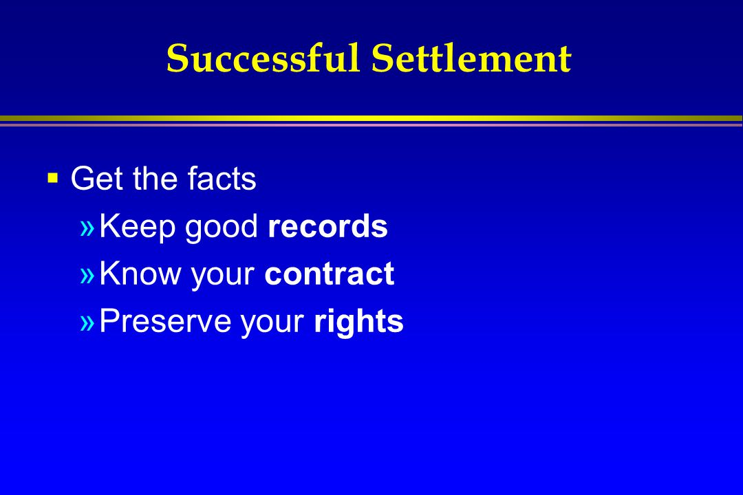 Successful Settlement