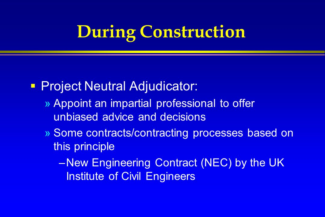 During Construction Project Neutral Adjudicator: