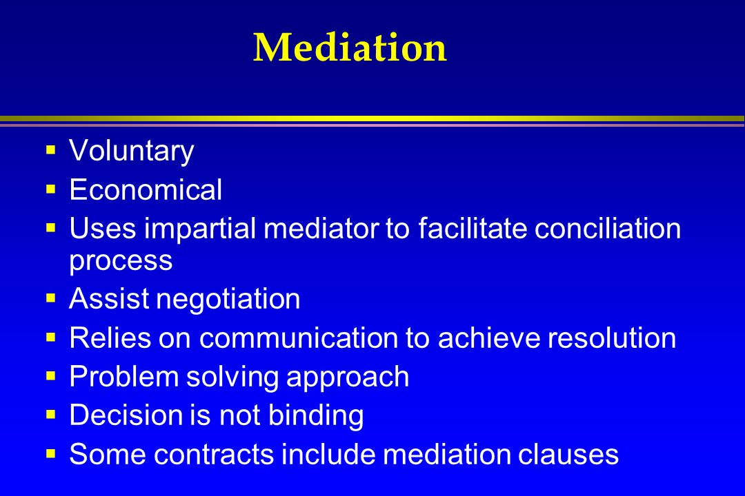 Mediation Voluntary Economical