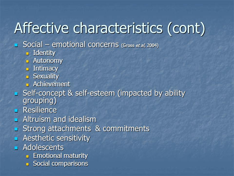 Affective characteristics (cont)