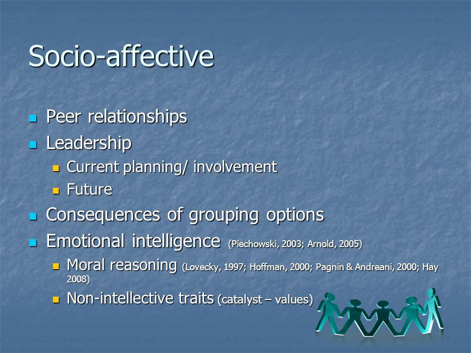 Socio-affective Peer relationships Leadership
