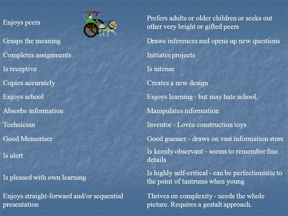 Enjoys peers Prefers adults or older children or seeks out other very bright or gifted peers. Grasps the meaning.