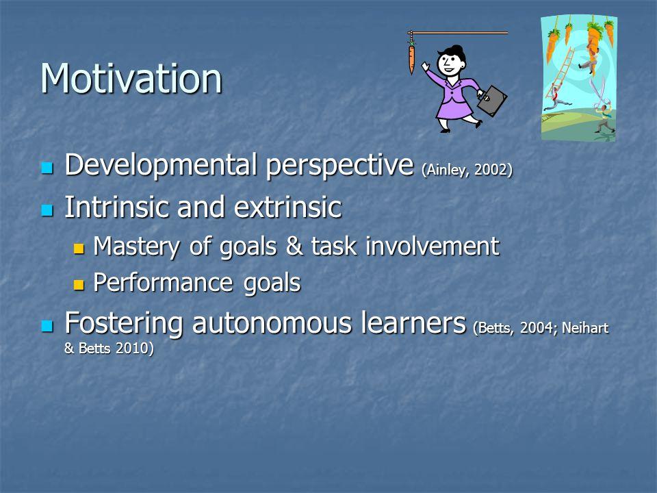 Motivation Developmental perspective (Ainley, 2002)