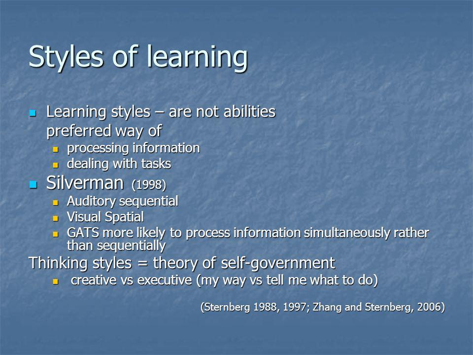Styles of learning Silverman (1998)