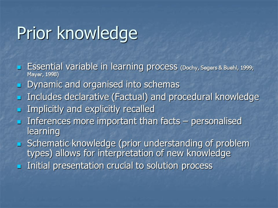 Prior knowledge Essential variable in learning process (Dochy, Segers & Buehl, 1999; Mayer, 1998) Dynamic and organised into schemas.