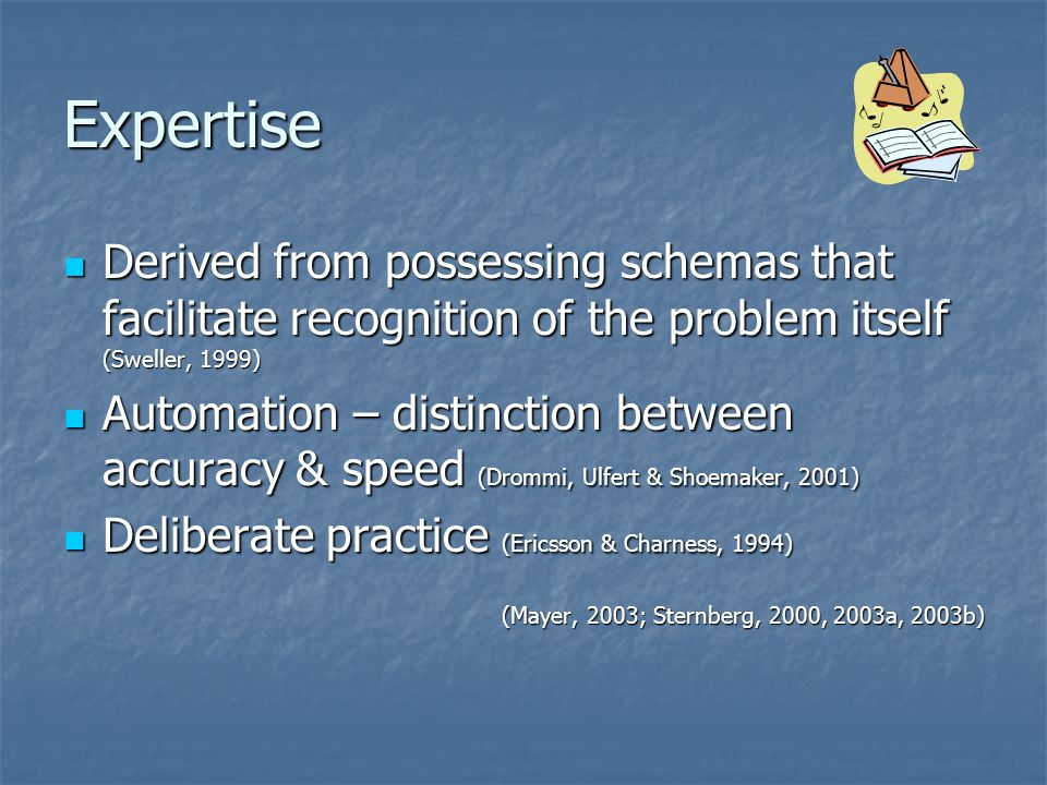 Expertise Derived from possessing schemas that facilitate recognition of the problem itself (Sweller, 1999)