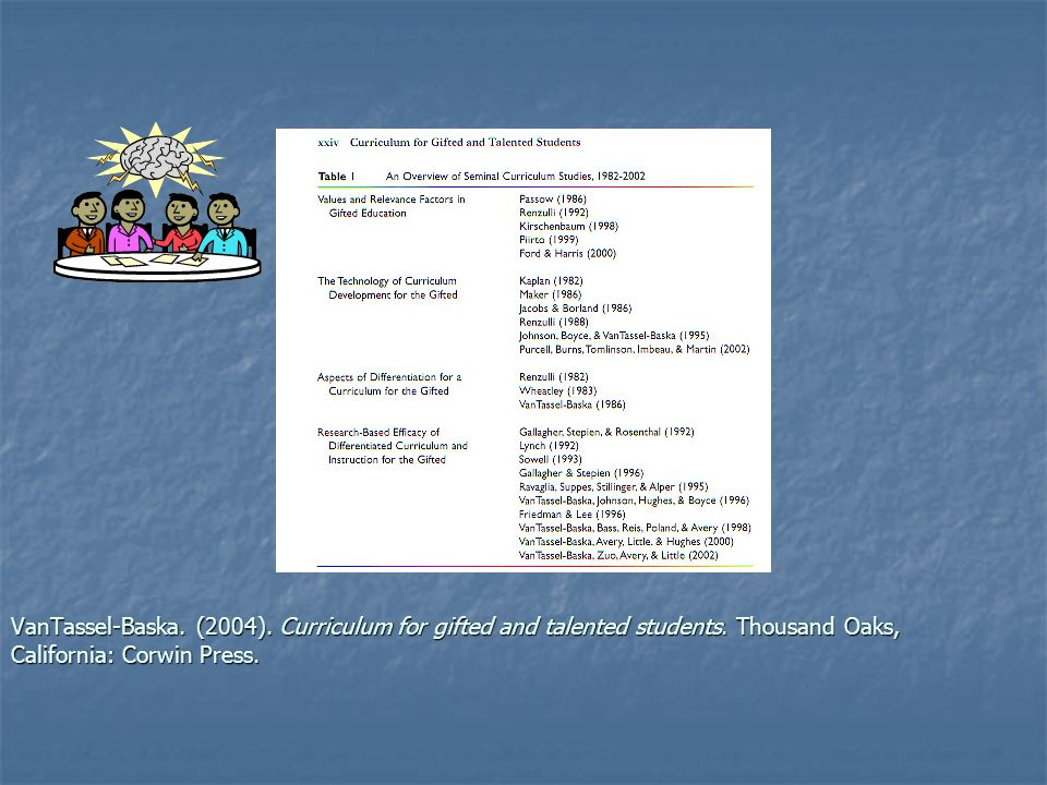 VanTassel-Baska. (2004). Curriculum for gifted and talented students