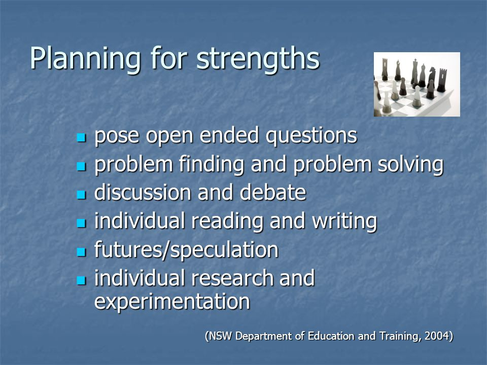 Planning for strengths