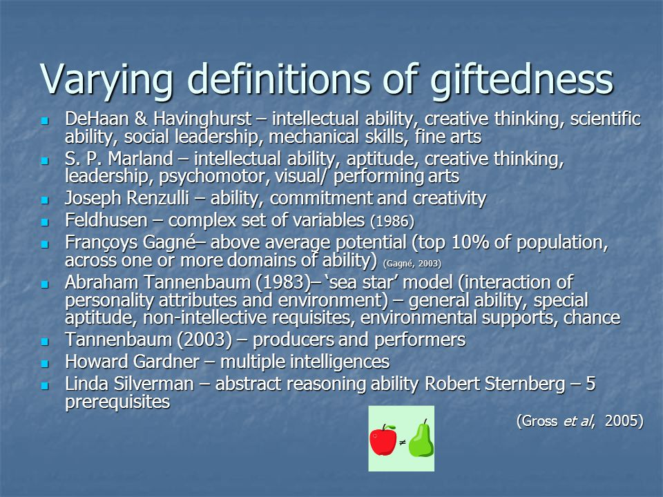 Varying definitions of giftedness