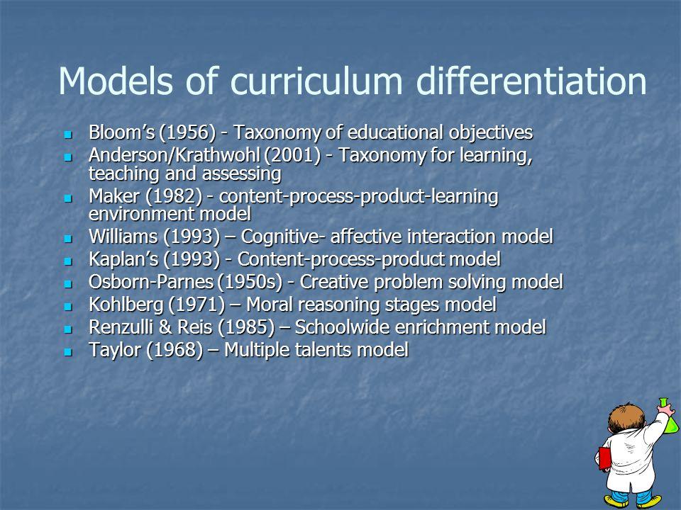 Models of curriculum differentiation
