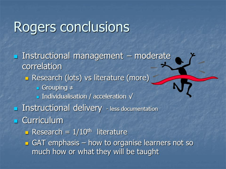 Rogers conclusions Instructional management – moderate correlation