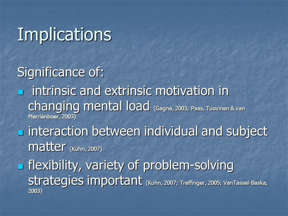 Implications Significance of: