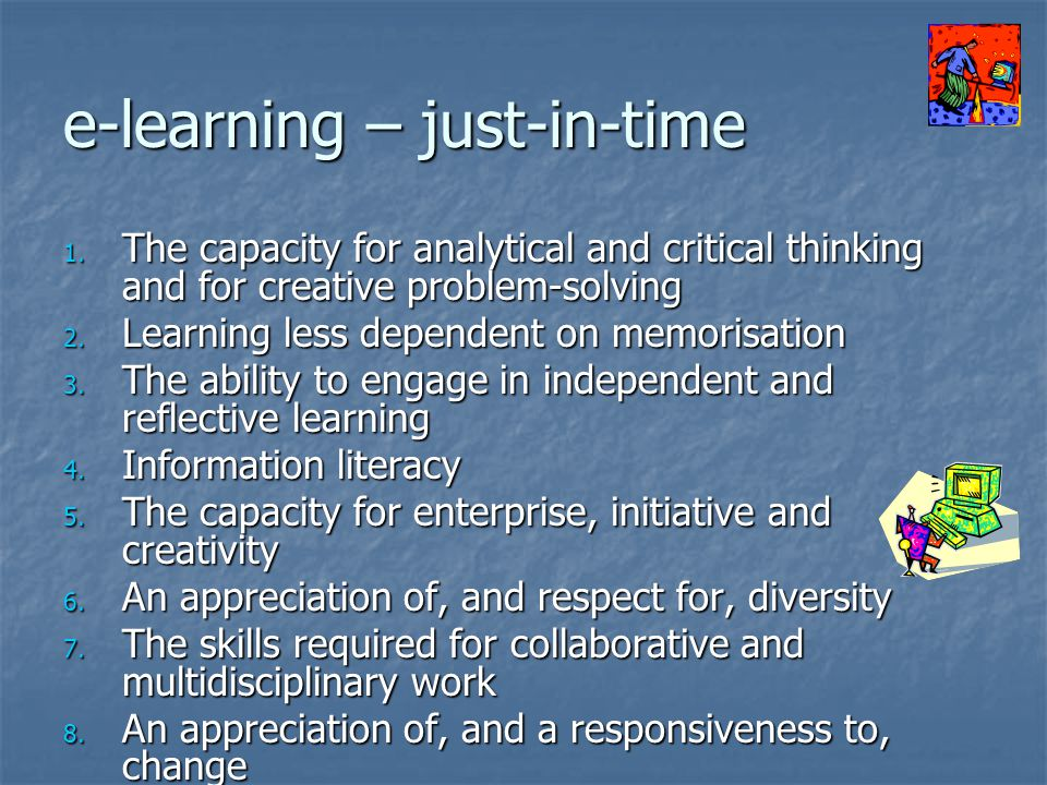 e-learning – just-in-time