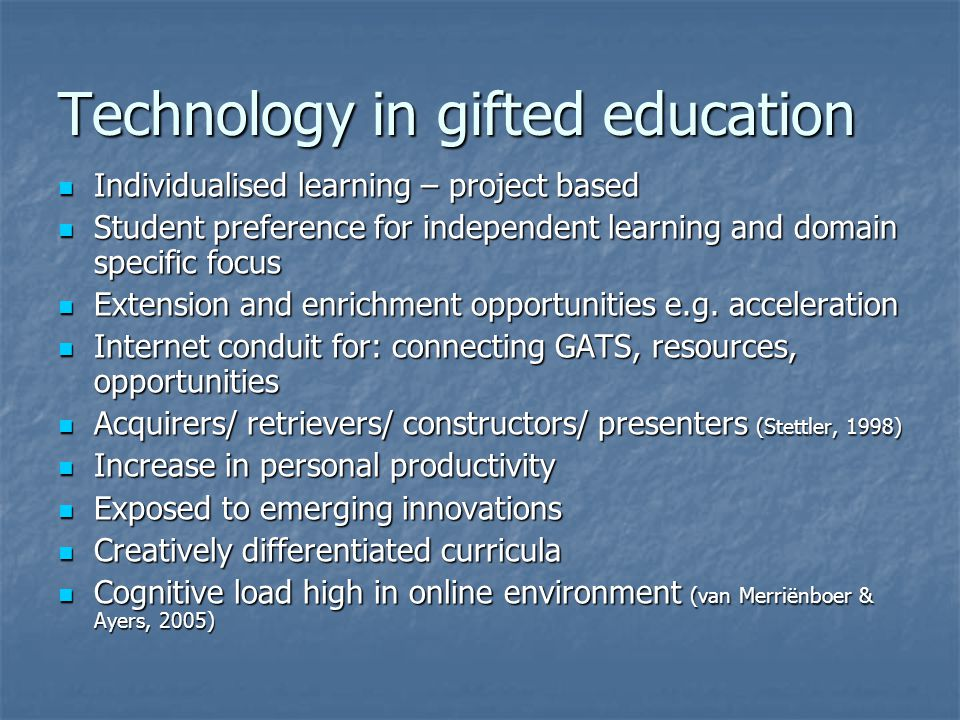 Technology in gifted education