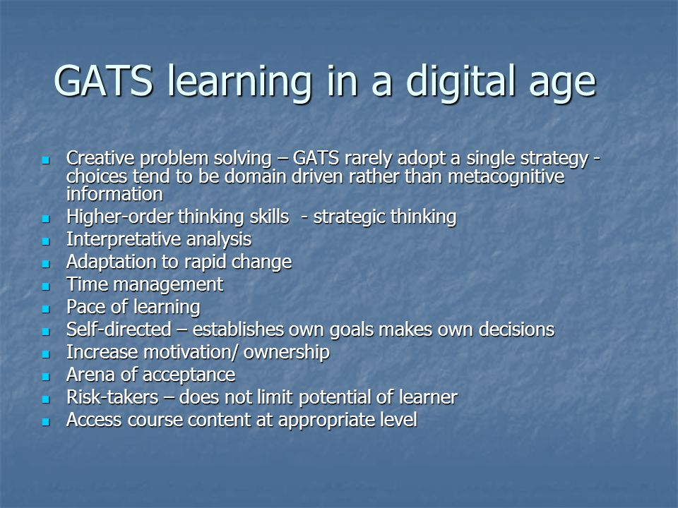 GATS learning in a digital age