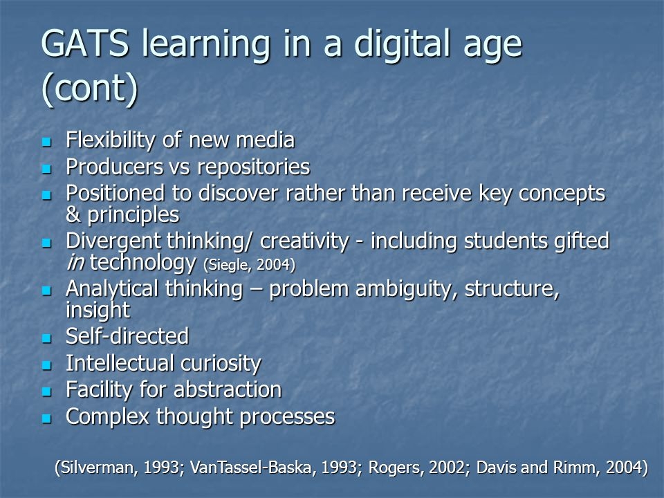 GATS learning in a digital age (cont)