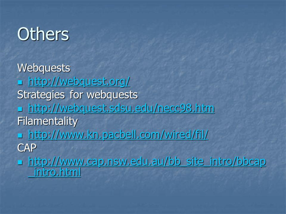 Others Webquests http://webquest.org/ Strategies for webquests