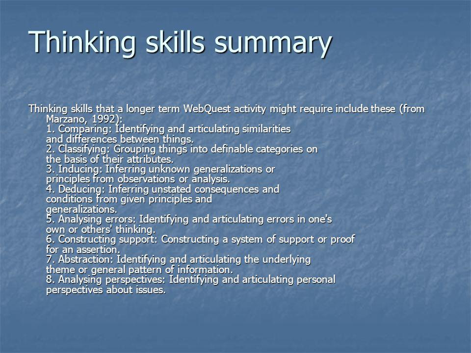 Thinking skills summary