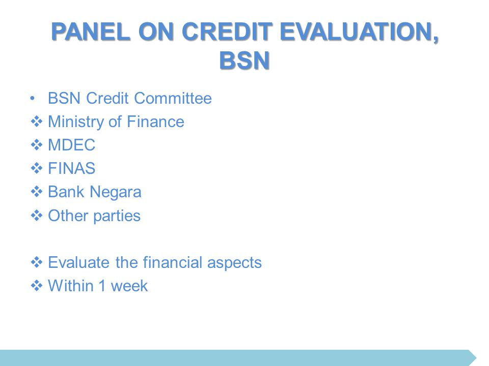 PANEL ON CREDIT EVALUATION, BSN