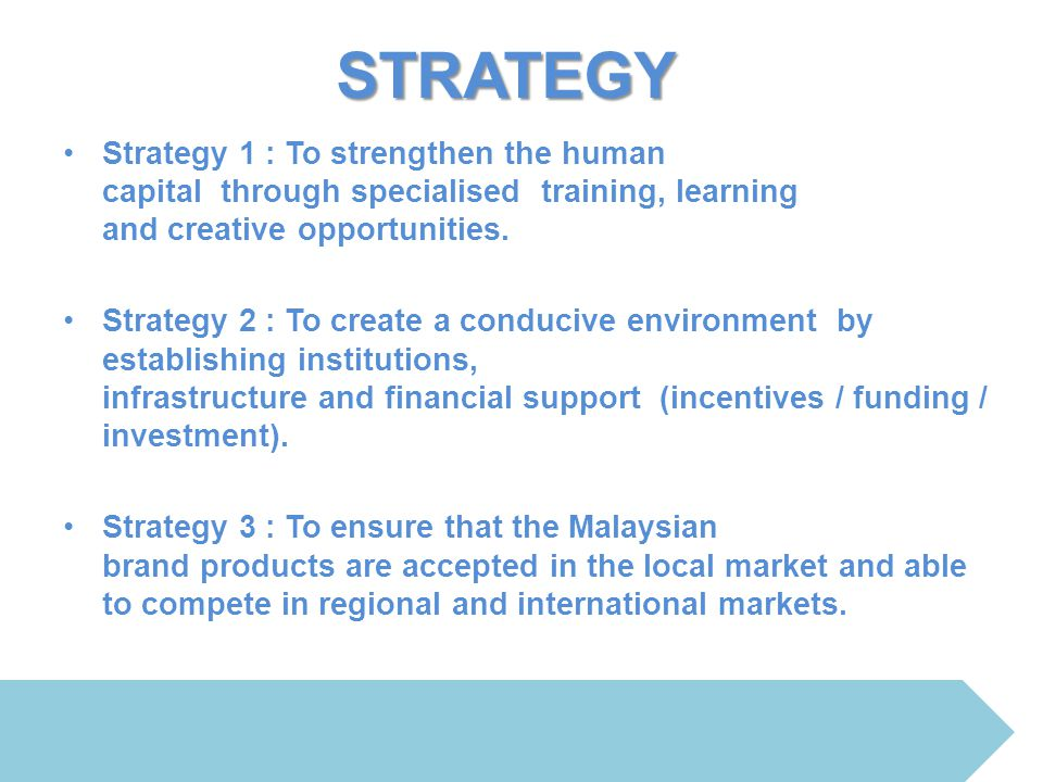 STRATEGY Strategy 1 : To strengthen the human capital through specialised training, learning and creative opportunities.
