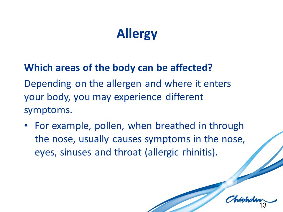 Allergy Which areas of the body can be affected