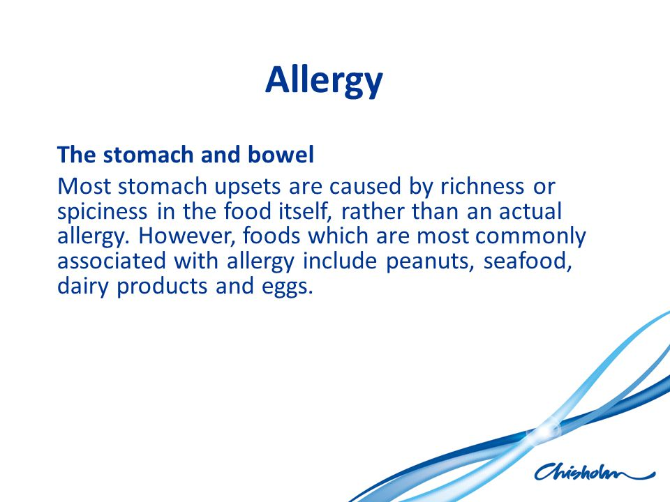 Allergy The stomach and bowel