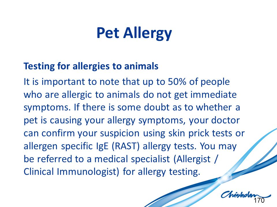 Pet Allergy Testing for allergies to animals