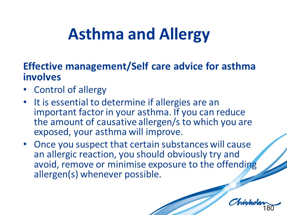 Asthma and Allergy Effective management/Self care advice for asthma involves. Control of allergy.