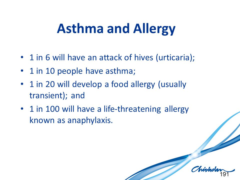 Asthma and Allergy 1 in 6 will have an attack of hives (urticaria);