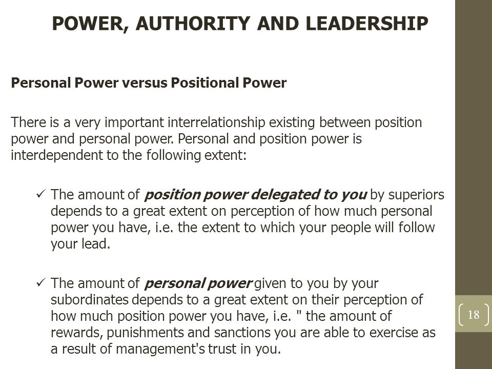 """power vs authority Authority vs power do you know the difference authority is the legal right to say """"yes"""" and """"no"""" managers usually have authority they can give approval (or not) for new projects, spending limits, etc managers can authorize."""