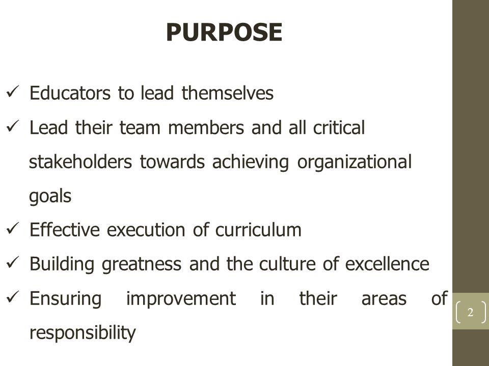 PURPOSE Educators to lead themselves