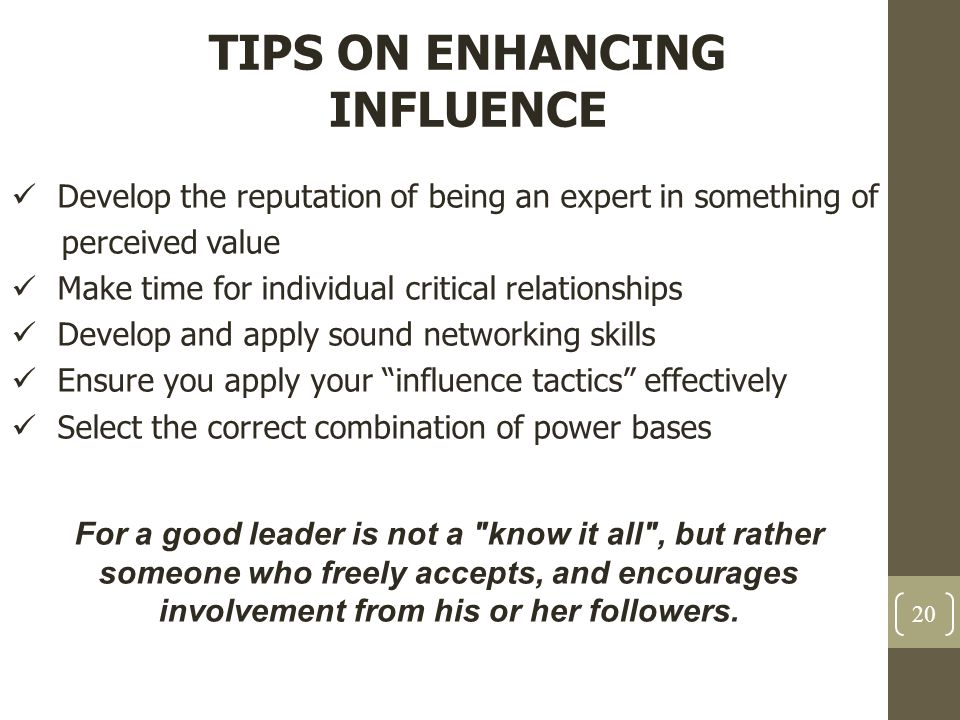 TIPS ON ENHANCING INFLUENCE