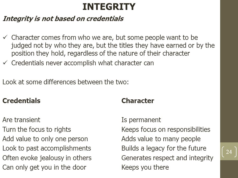 INTEGRITY Integrity is not based on credentials
