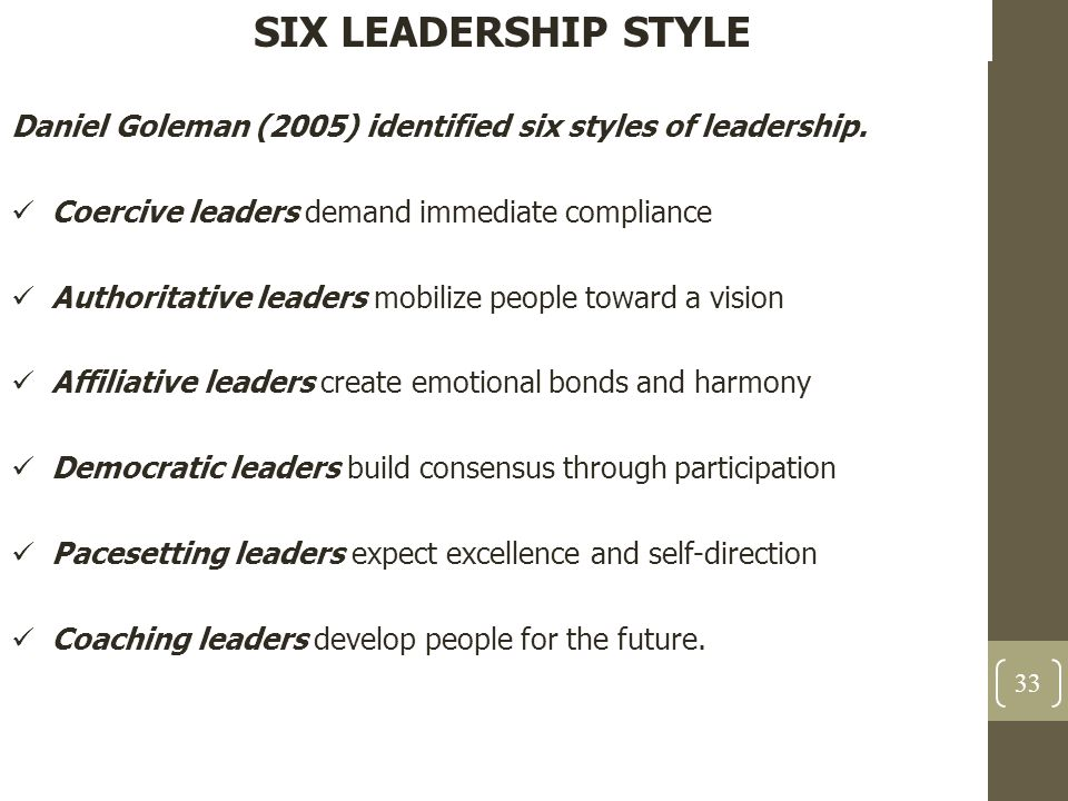 SIX LEADERSHIP STYLE Daniel Goleman (2005) identified six styles of leadership. Coercive leaders demand immediate compliance.