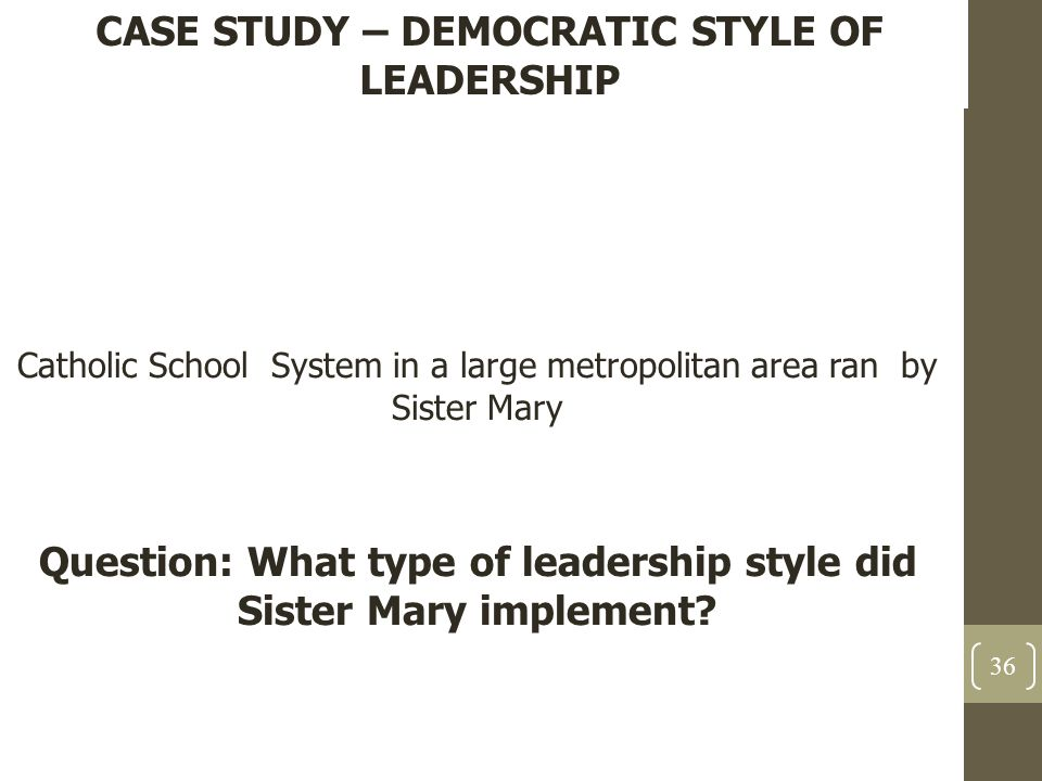 case study on leadership styles in schools Leadership case study inspires and motivates others to high performance work style and puts in any extra hours needed to meet personal and team goals leadership research and tools that are available in your competency companion development guide.