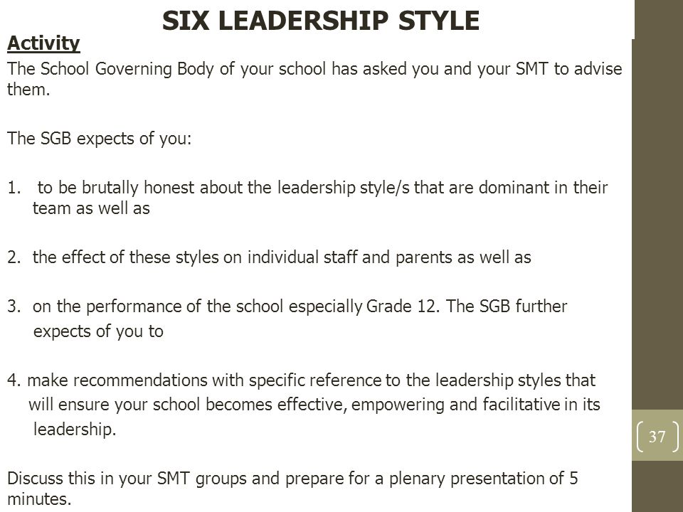 SIX LEADERSHIP STYLE Activity