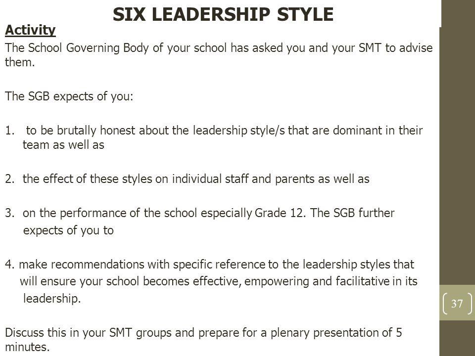 SIX LEADERSHIP STYLE Activity