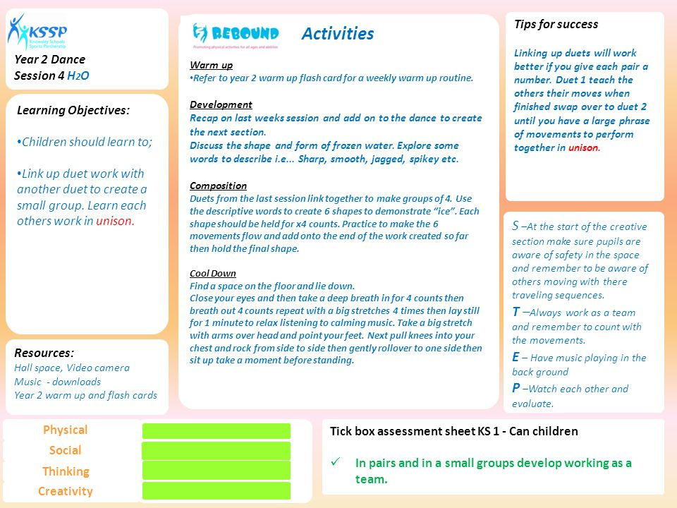 Year 2 Dance Session 4 H2O. Activities. Warm up. Refer to year 2 warm up flash card for a weekly warm up routine.