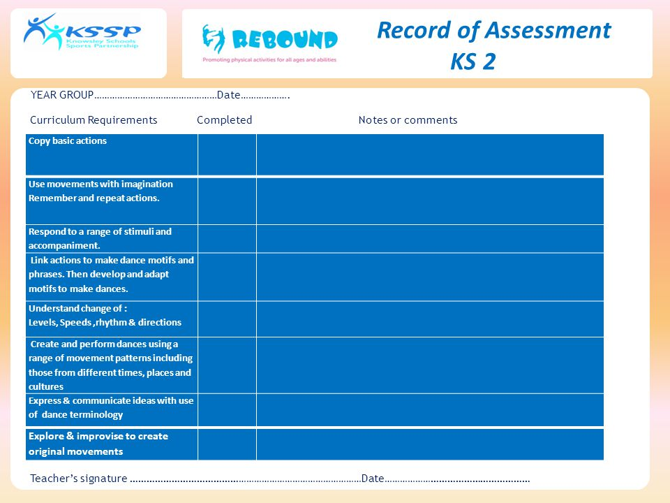 KS 2 Record of Assessment YEAR GROUP…………………………………………Date……………….