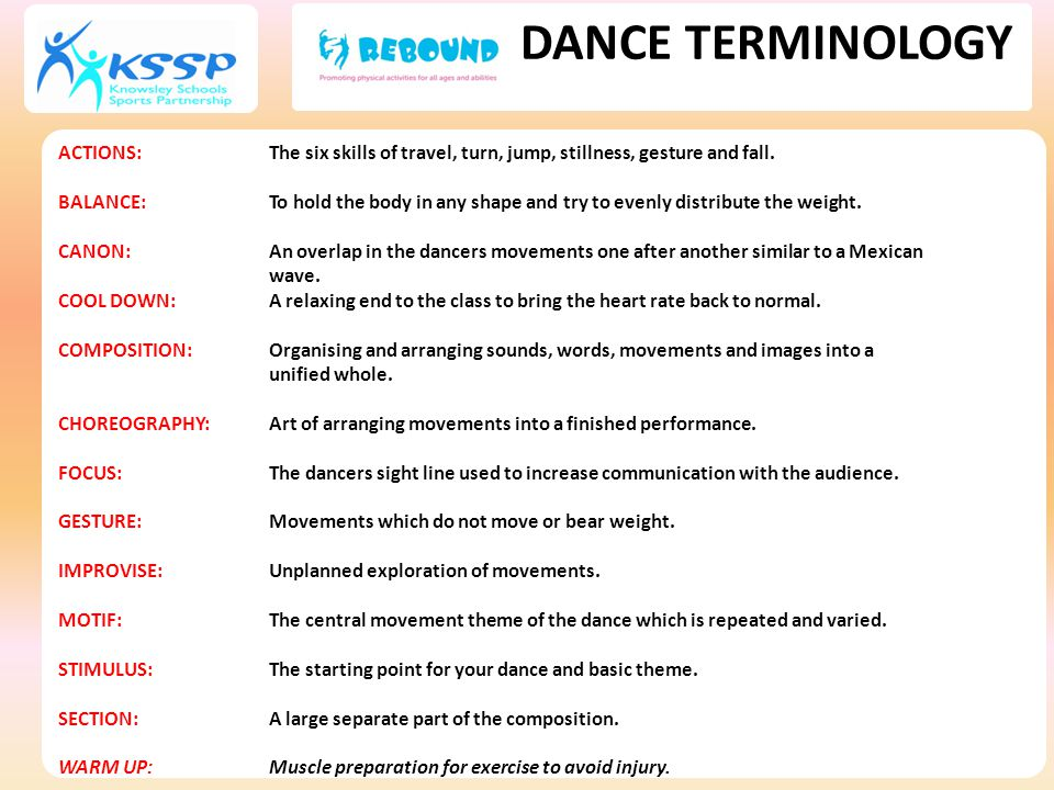 DANCE TERMINOLOGY ACTIONS: The six skills of travel, turn, jump, stillness, gesture and fall.
