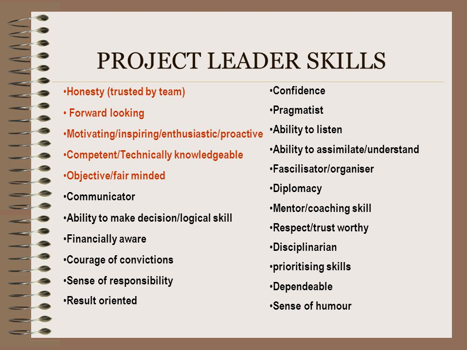 PROJECT LEADER SKILLS Honesty (trusted by team) Forward looking