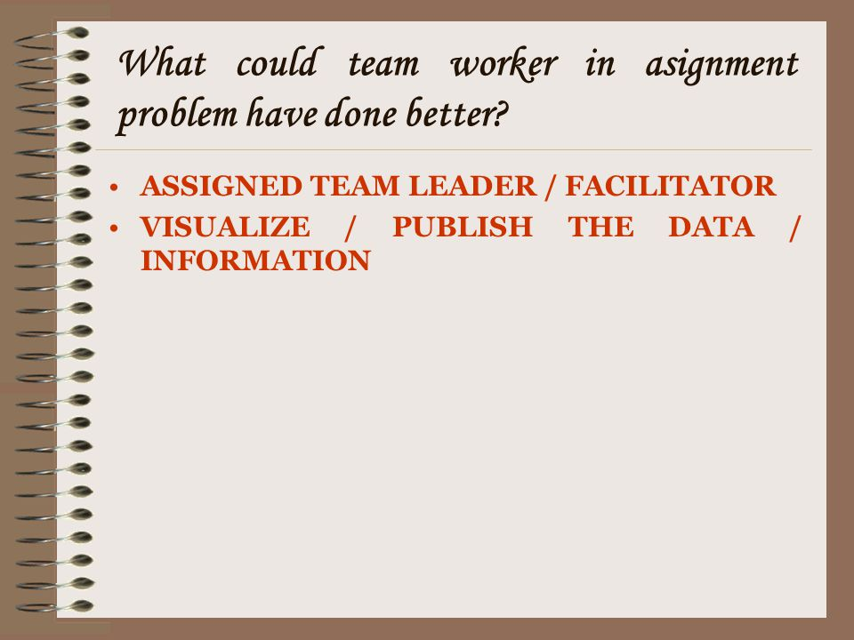 What could team worker in asignment problem have done better