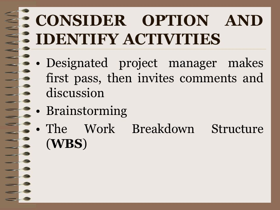 CONSIDER OPTION AND IDENTIFY ACTIVITIES