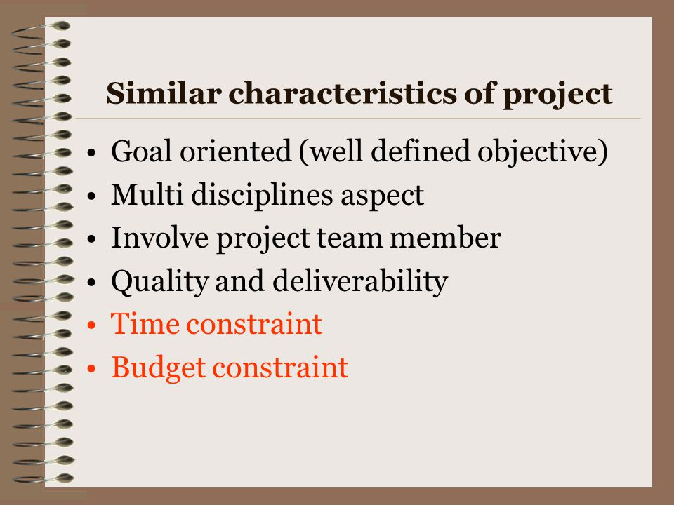 Similar characteristics of project